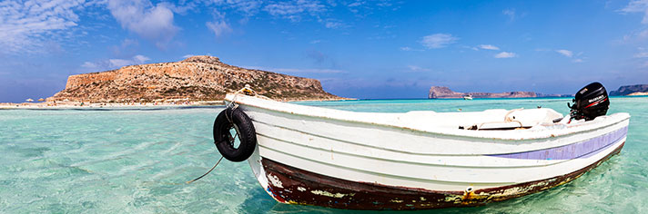 Boat in Balos Lagoon Kissamos Crete Greece   GettyImages-608964478