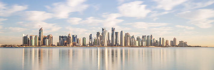 Doha Skyline Qatar Middle East Qatar GettyImages-520283787